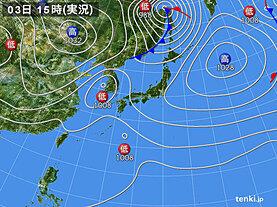 実況天気図(2021年04月03日)