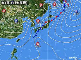 実況天気図(2021年04月04日)