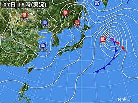 実況天気図(2021年04月07日)