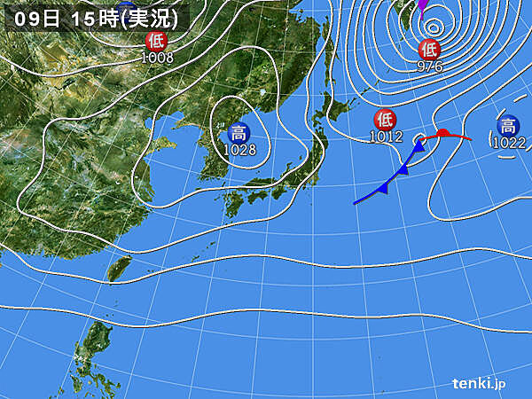 実況天気図(2021年04月09日)