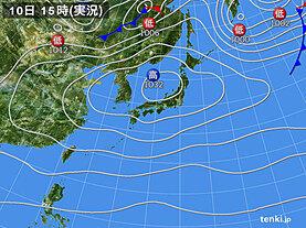 実況天気図(2021年04月10日)