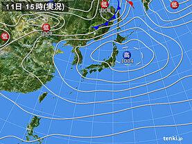 実況天気図(2021年04月11日)