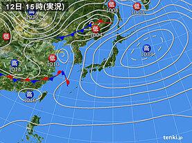 実況天気図(2021年04月12日)