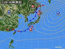 実況天気図(2021年04月13日)