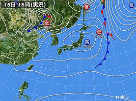 実況天気図(2021年04月15日)