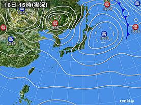 実況天気図(2021年04月16日)