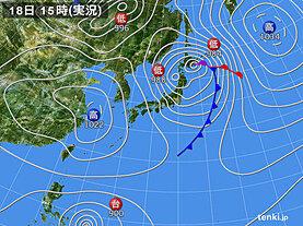 実況天気図(2021年04月18日)