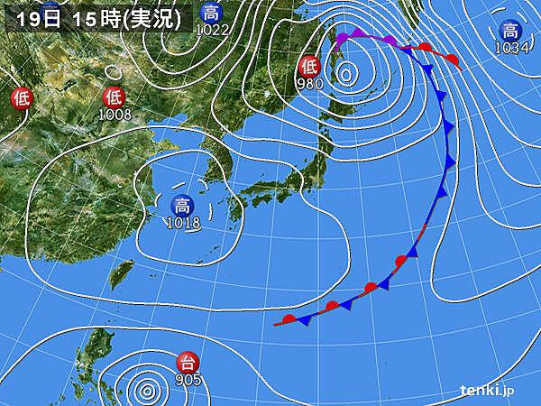 実況天気図(2021年04月19日)