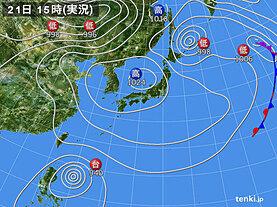 実況天気図(2021年04月21日)