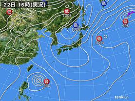 実況天気図(2021年04月22日)
