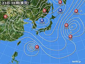 実況天気図(2021年04月23日)