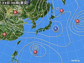 実況天気図(2021年04月24日)