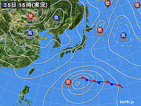 実況天気図(2021年04月25日)