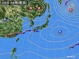 実況天気図(2021年04月28日)