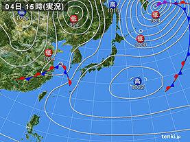 実況天気図(2021年05月04日)