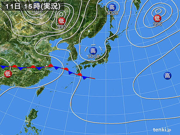 実況天気図(2021年05月11日)
