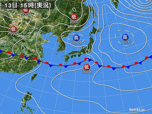 実況天気図(2021年05月13日)