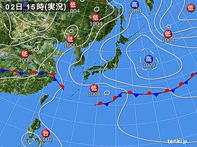 実況天気図(2021年06月02日)