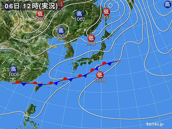 実況天気図(2021年06月06日)