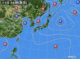 実況天気図(2021年06月11日)