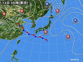 実況天気図(2021年06月13日)