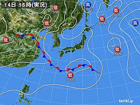 実況天気図(2021年06月14日)