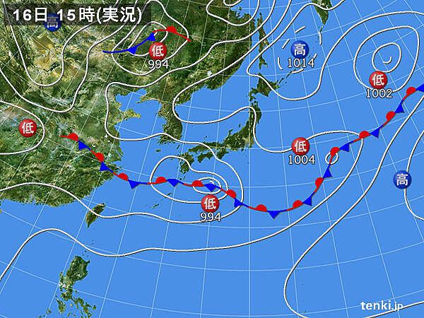 実況天気図(2021年06月16日)