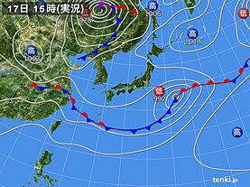 実況天気図(2021年06月17日)