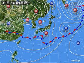 実況天気図(2021年06月19日)