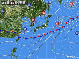 実況天気図(2021年06月21日)