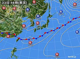 実況天気図(2021年06月22日)
