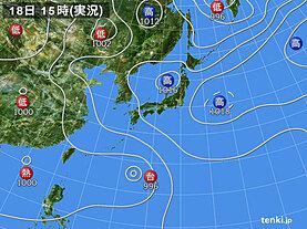 実況天気図(2021年07月18日)