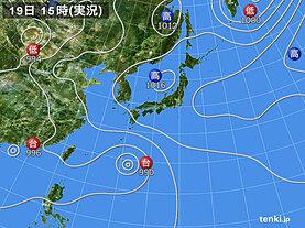 実況天気図(2021年07月19日)