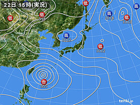 実況天気図(2021年07月22日)