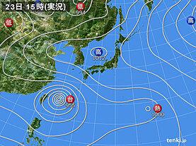 実況天気図(2021年07月23日)