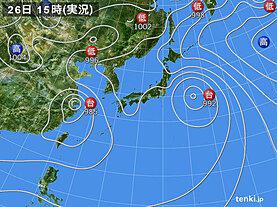 実況天気図(2021年07月26日)