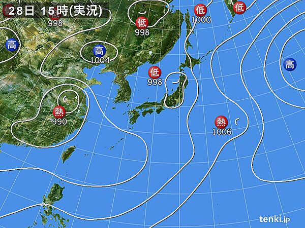 実況天気図(2021年07月28日)