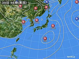 実況天気図(2021年07月30日)
