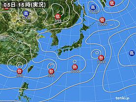 実況天気図(2021年08月05日)