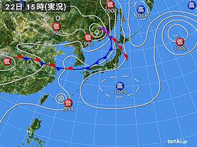 実況天気図(2021年08月22日)