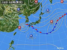 実況天気図(2021年09月16日)