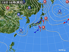 実況天気図(2021年09月18日)