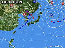 実況天気図(2021年09月21日)