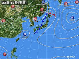 実況天気図(2021年09月22日)