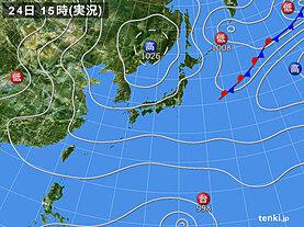 実況天気図(2021年09月24日)