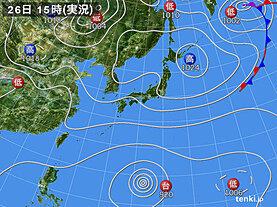 実況天気図(2021年09月26日)