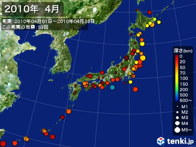 2010年04月の震央分布図