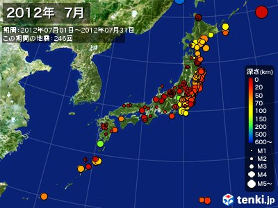 2012年07月の震央分布図