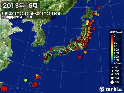 2013年06月の震央分布図