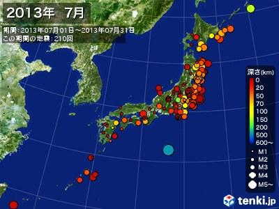 2013年07月の震央分布図